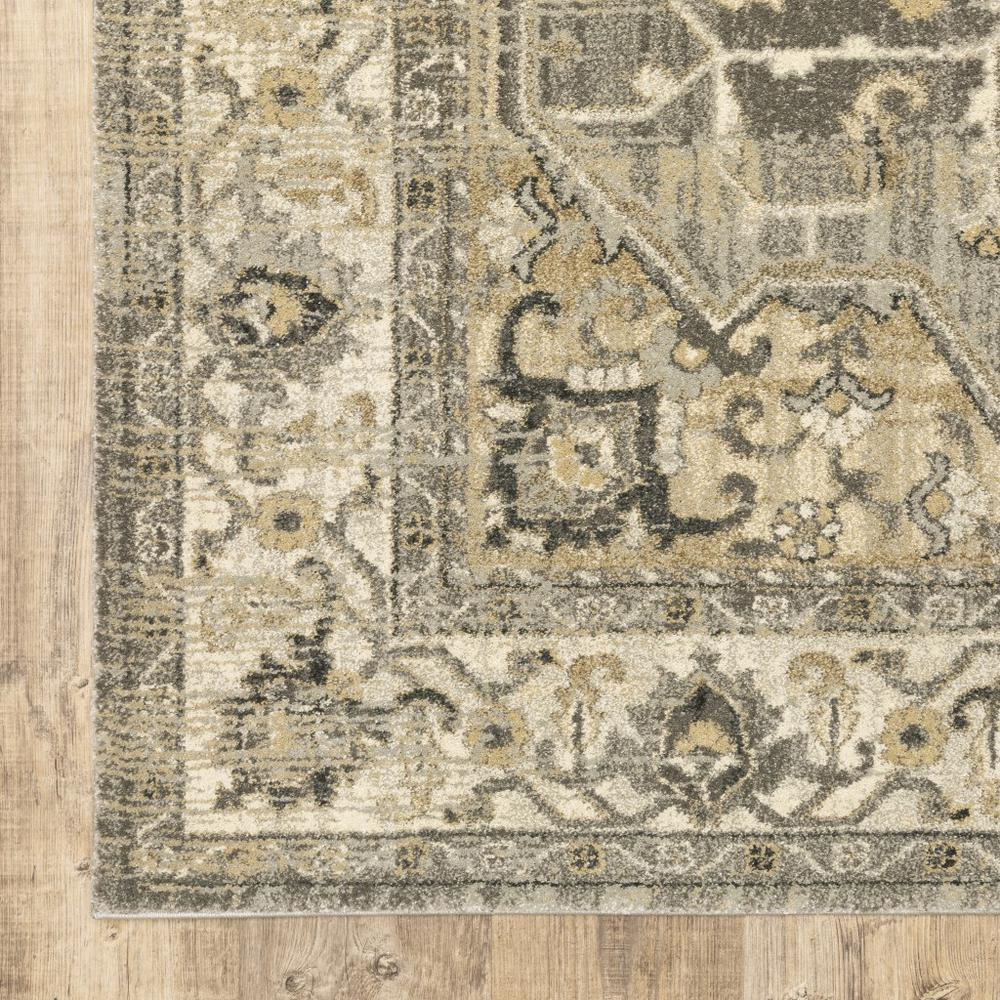 2' x 8' Beige and Gray Traditional Medallion Indoor Runner Rug - 388024. Picture 3