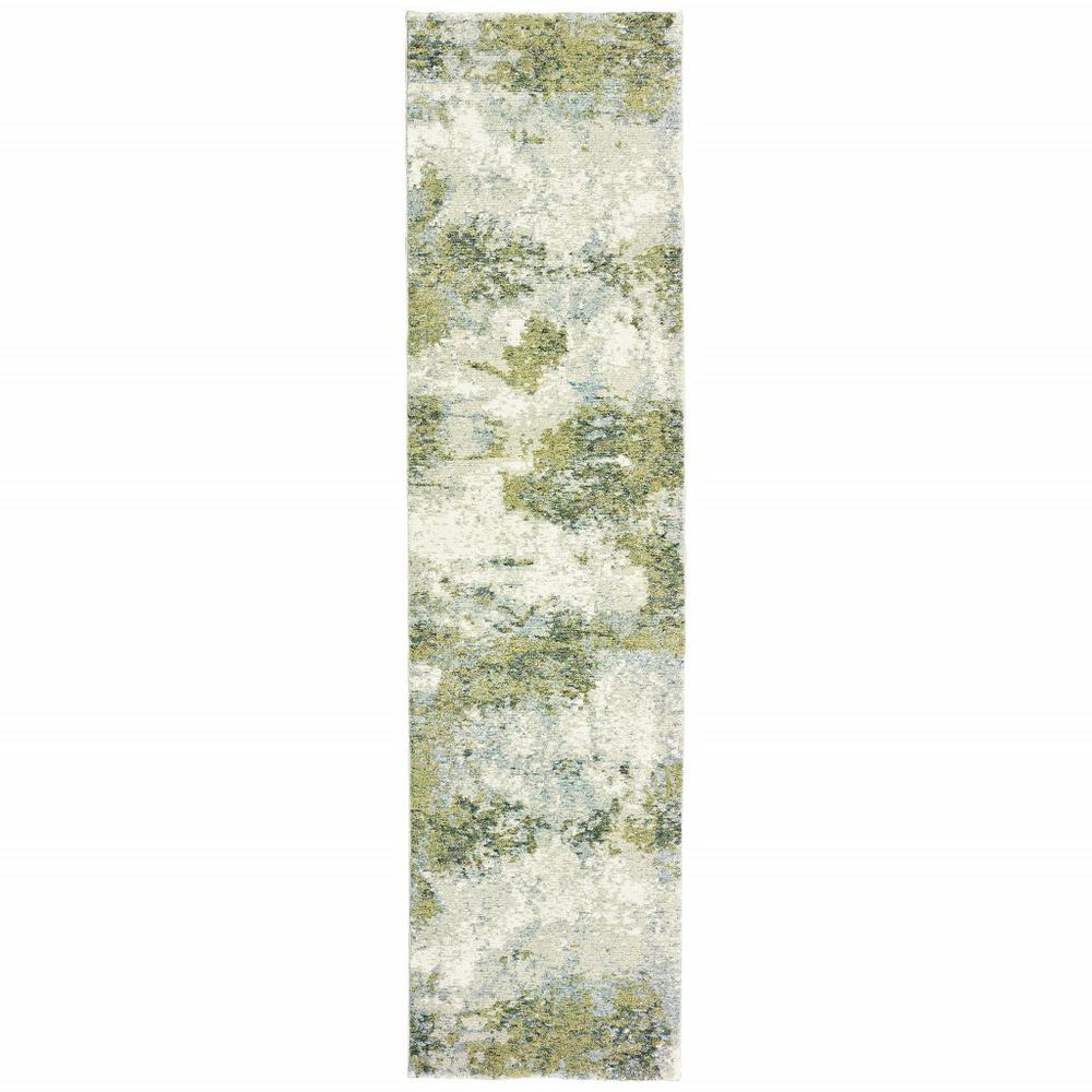 2' x 8' Blue and Sage Distressed Waves Indoor Runner Rug - 388029. Picture 1