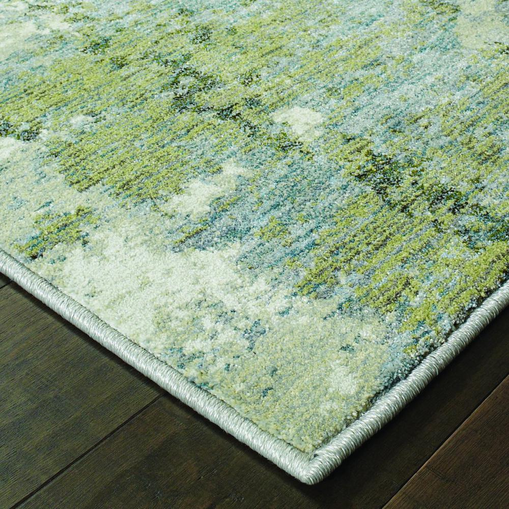 2' x 8' Blue and Sage Distressed Waves Indoor Runner Rug - 388029. Picture 2