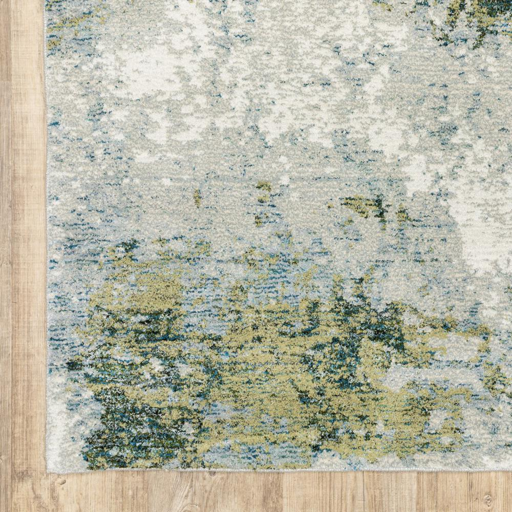 2' x 8' Blue and Sage Distressed Waves Indoor Runner Rug - 388029. Picture 3