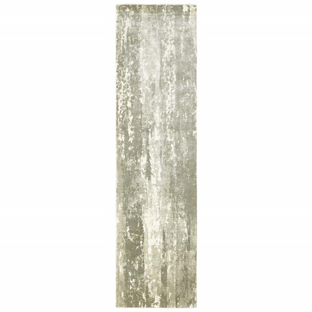 3' x 10' Gray and Ivory Abstract Splash Indoor Runner Rug - 388059. Picture 1
