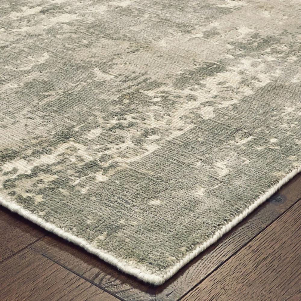 3' x 10' Gray and Ivory Abstract Splash Indoor Runner Rug - 388059. Picture 2