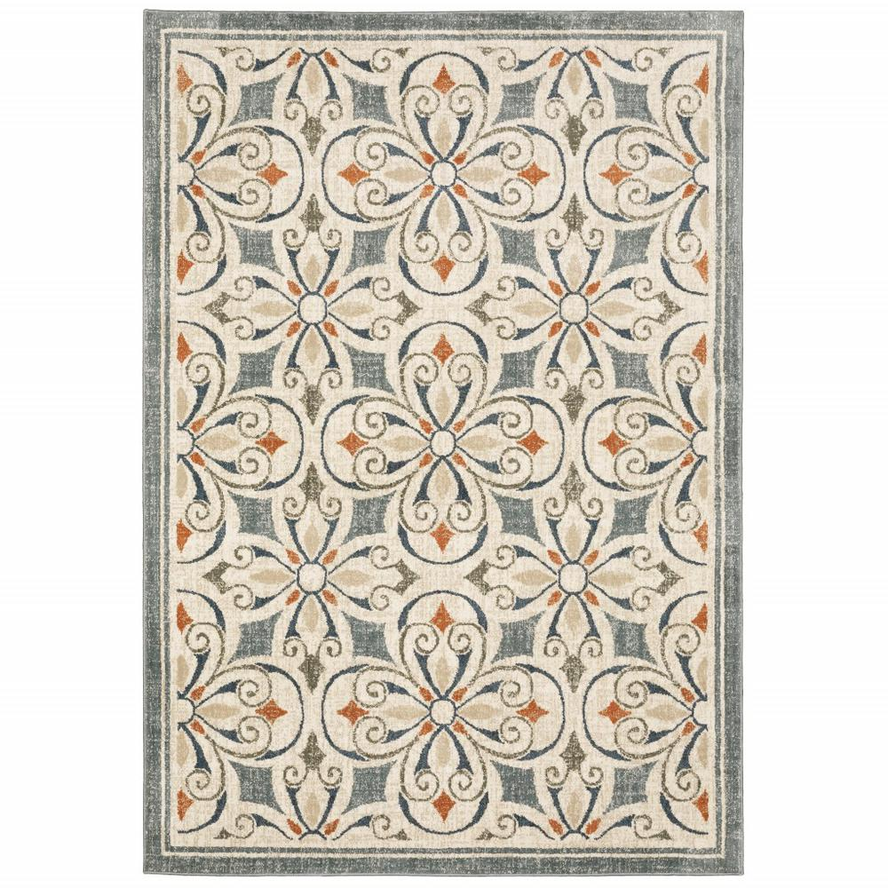 8' x 10' Gray and Beige Medallion Indoor Area Rug - 388063. Picture 1