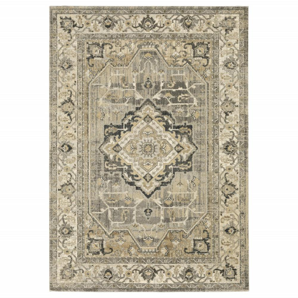 8' x 11' Beige and Gray Traditional Medallion Indoor Area Rug - 388066. Picture 1