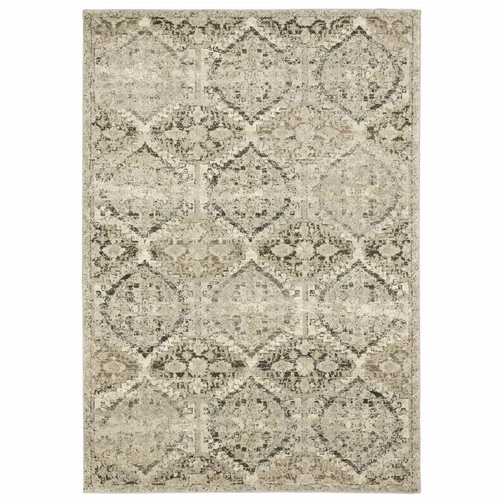8' x 11' Ivory and Gray Floral Trellis Indoor Area Rug - 388067. Picture 1