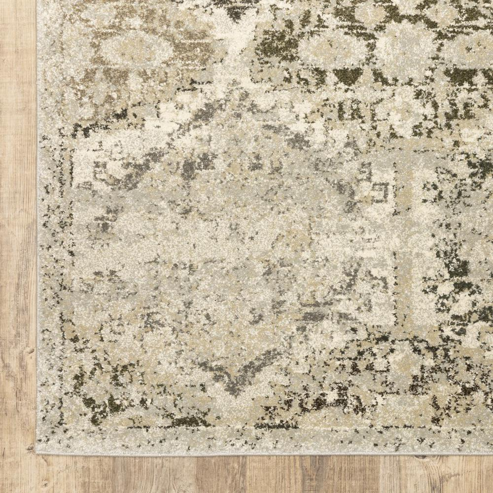 8' x 11' Ivory and Gray Floral Trellis Indoor Area Rug - 388067. Picture 3