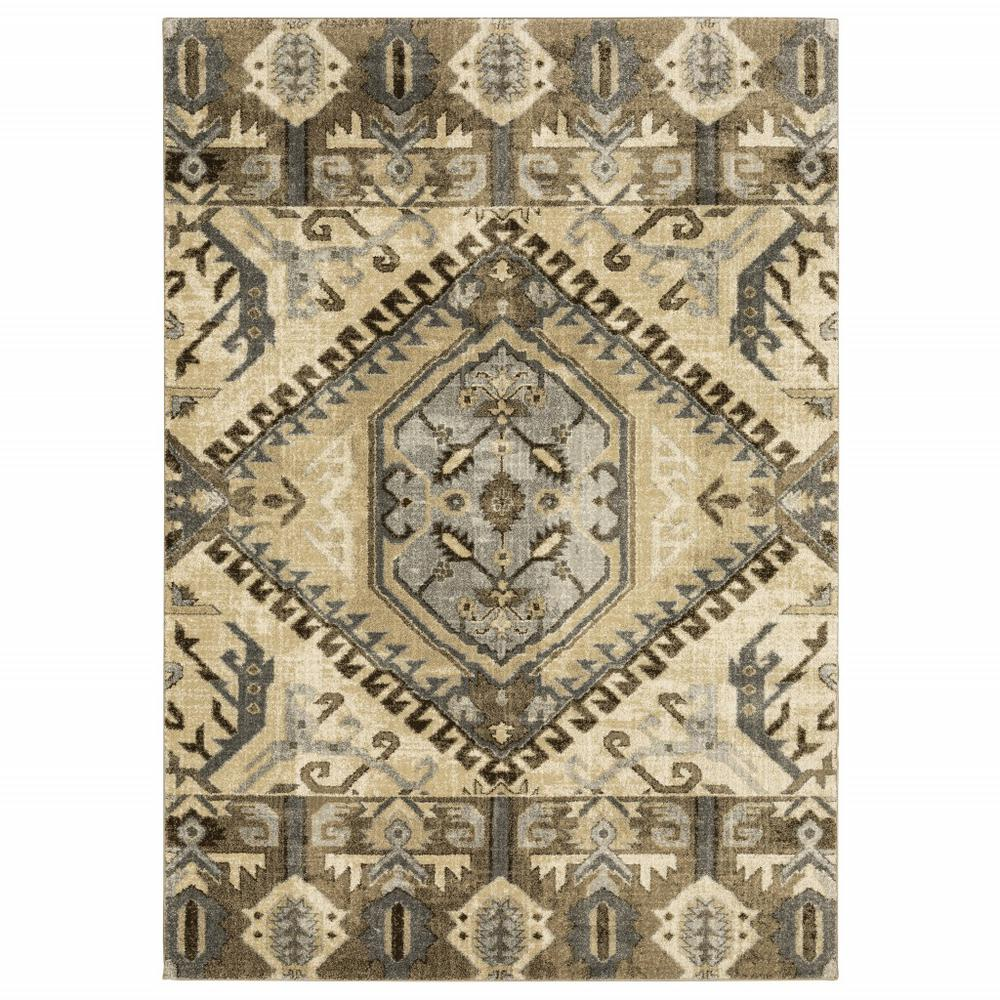 8' x 11' Tan and Gold Central Medallion Indoor Area Rug - 388068. Picture 1