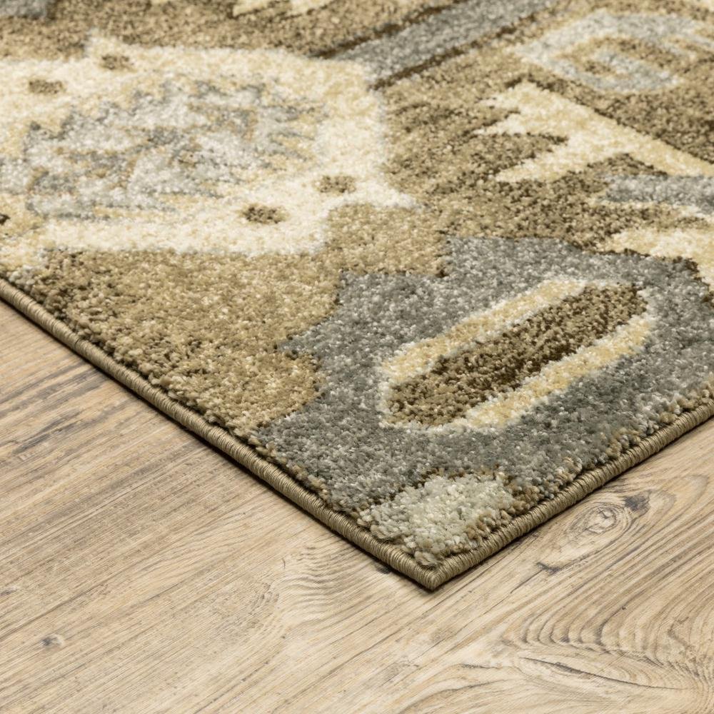8' x 11' Tan and Gold Central Medallion Indoor Area Rug - 388068. Picture 2