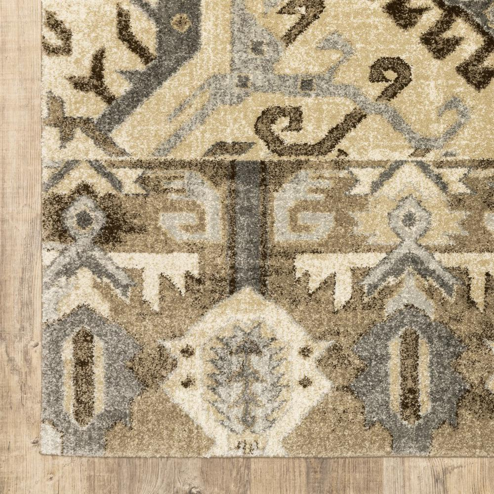 8' x 11' Tan and Gold Central Medallion Indoor Area Rug - 388068. Picture 3