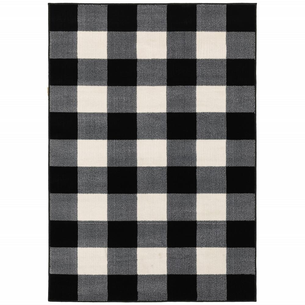10' x 13' Monochromatic Gingham Pattern Indoor Area Rug - 388070. Picture 1