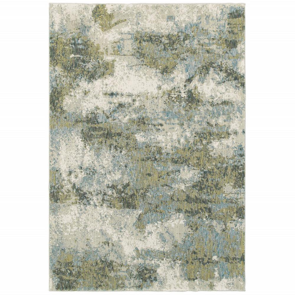 8' x 11' Blue and Sage Distressed Waves Indoor Area Rug - 388083. Picture 1