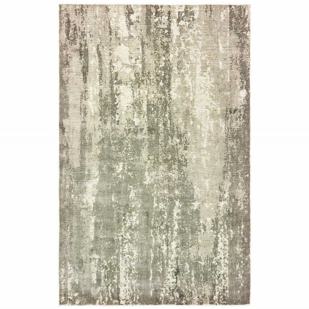 8' x 10' Gray and Ivory Abstract Splash Indoor Area Rug - 388095. Picture 1