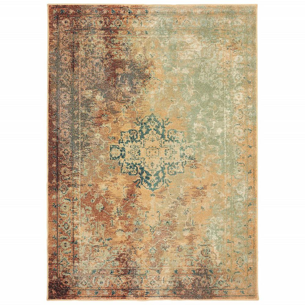 8' x 11'  Brown and Gold Medallion Indoor Area Rug - 388154. Picture 1
