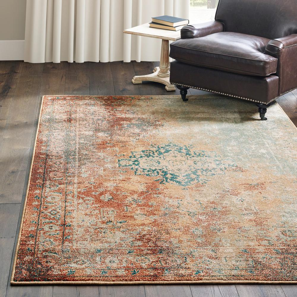 8' x 11'  Brown and Gold Medallion Indoor Area Rug - 388154. Picture 3