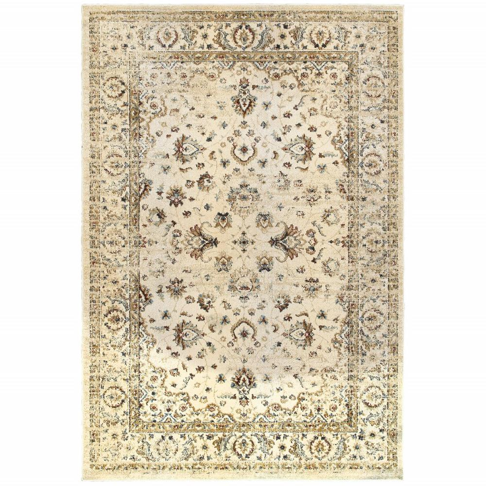 7' x 10' Ivory and Gold Distressed Indoor Area Rug - 388184. Picture 1