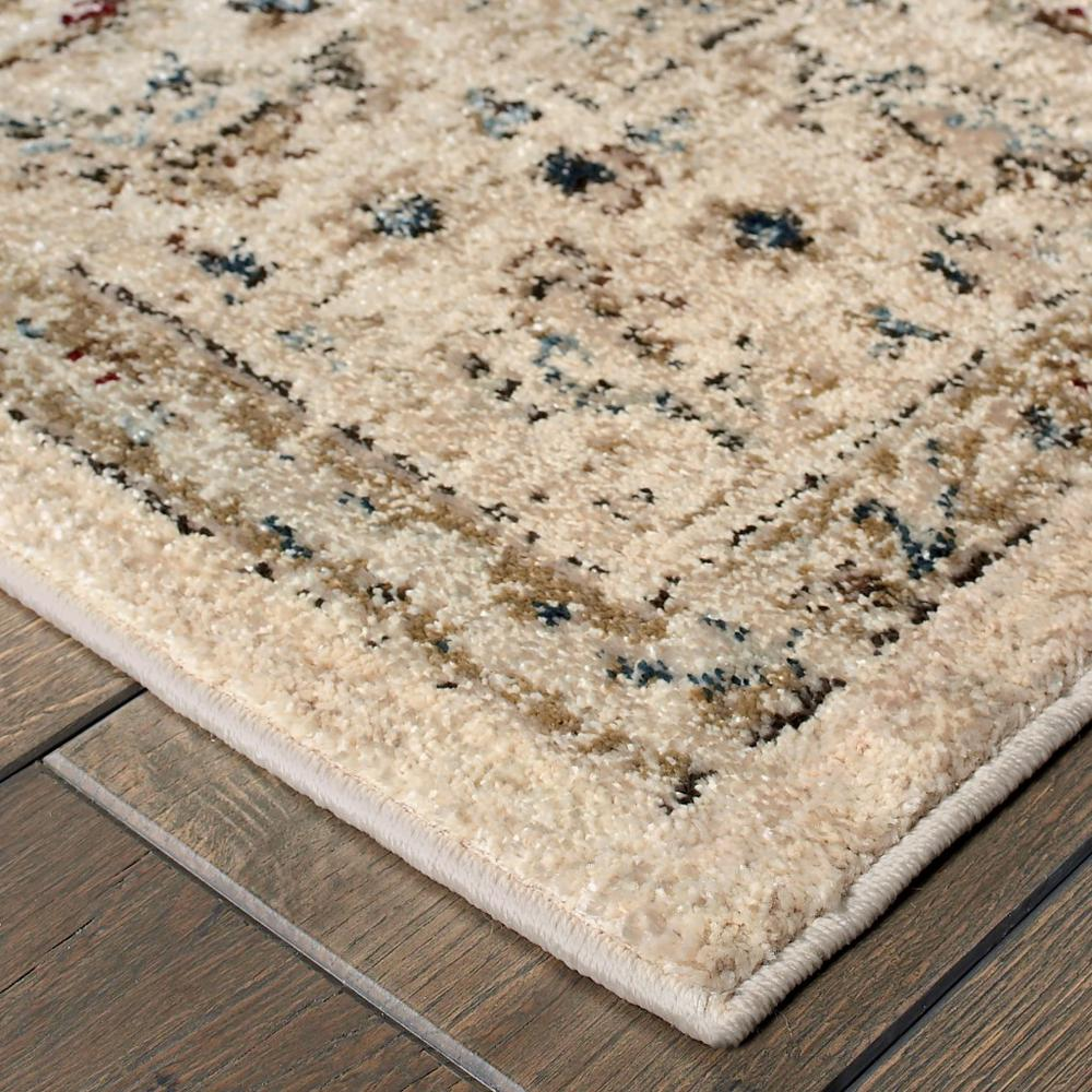 8' x 11' Ivory and Gold Distressed Indoor Area Rug - 388185. Picture 2