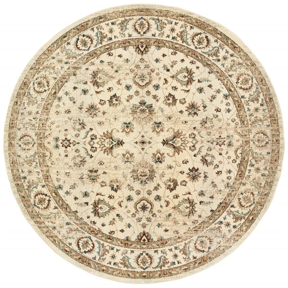 8' Round Ivory and Gold Distressed Indoor Area Rug - 388186. Picture 1