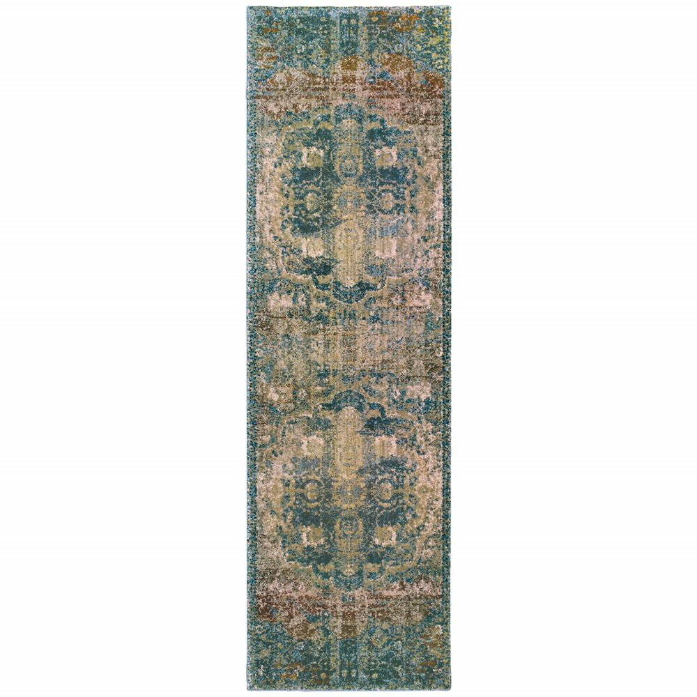 2' x 8' Sand and Blue Distressed Indoor Runner Rug - 388188. Picture 1