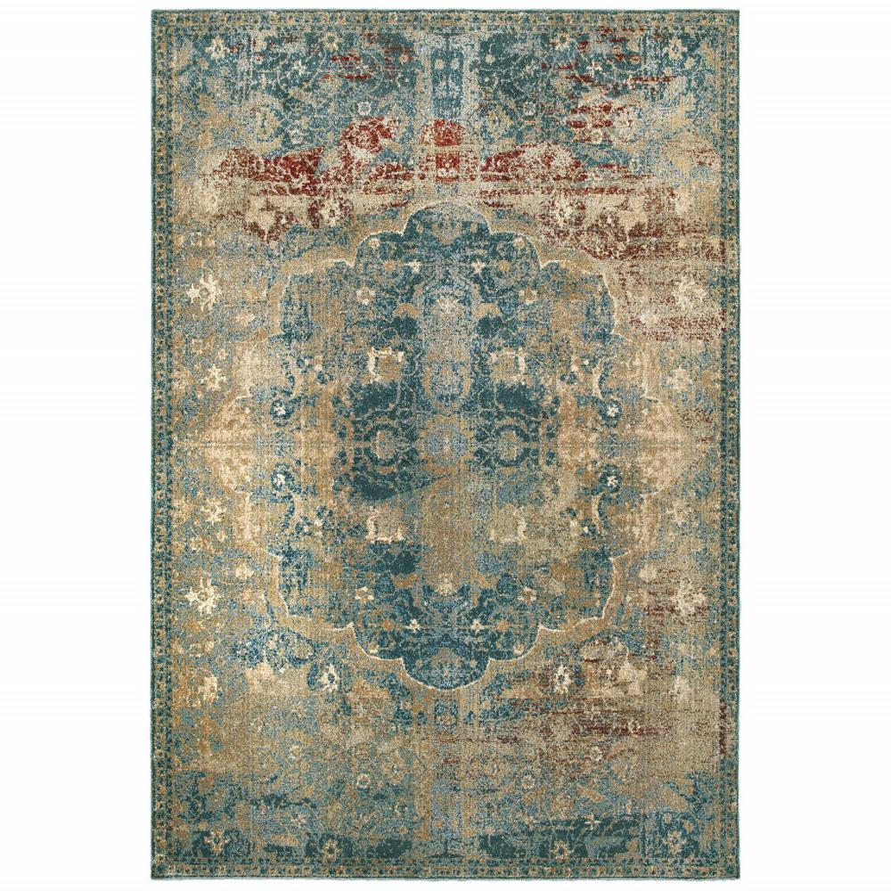 5' x 8' Sand and Blue Distressed Indoor Area Rug - 388190. Picture 1