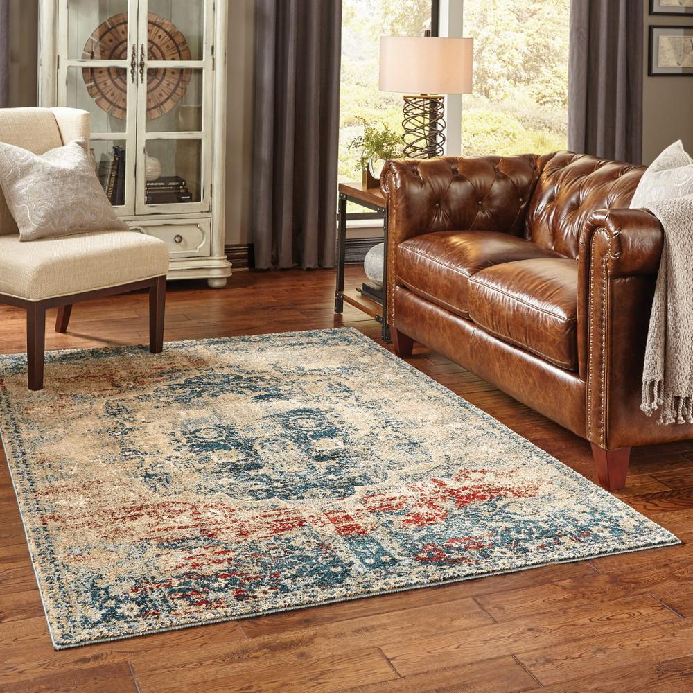 5' x 8' Sand and Blue Distressed Indoor Area Rug - 388190. Picture 3