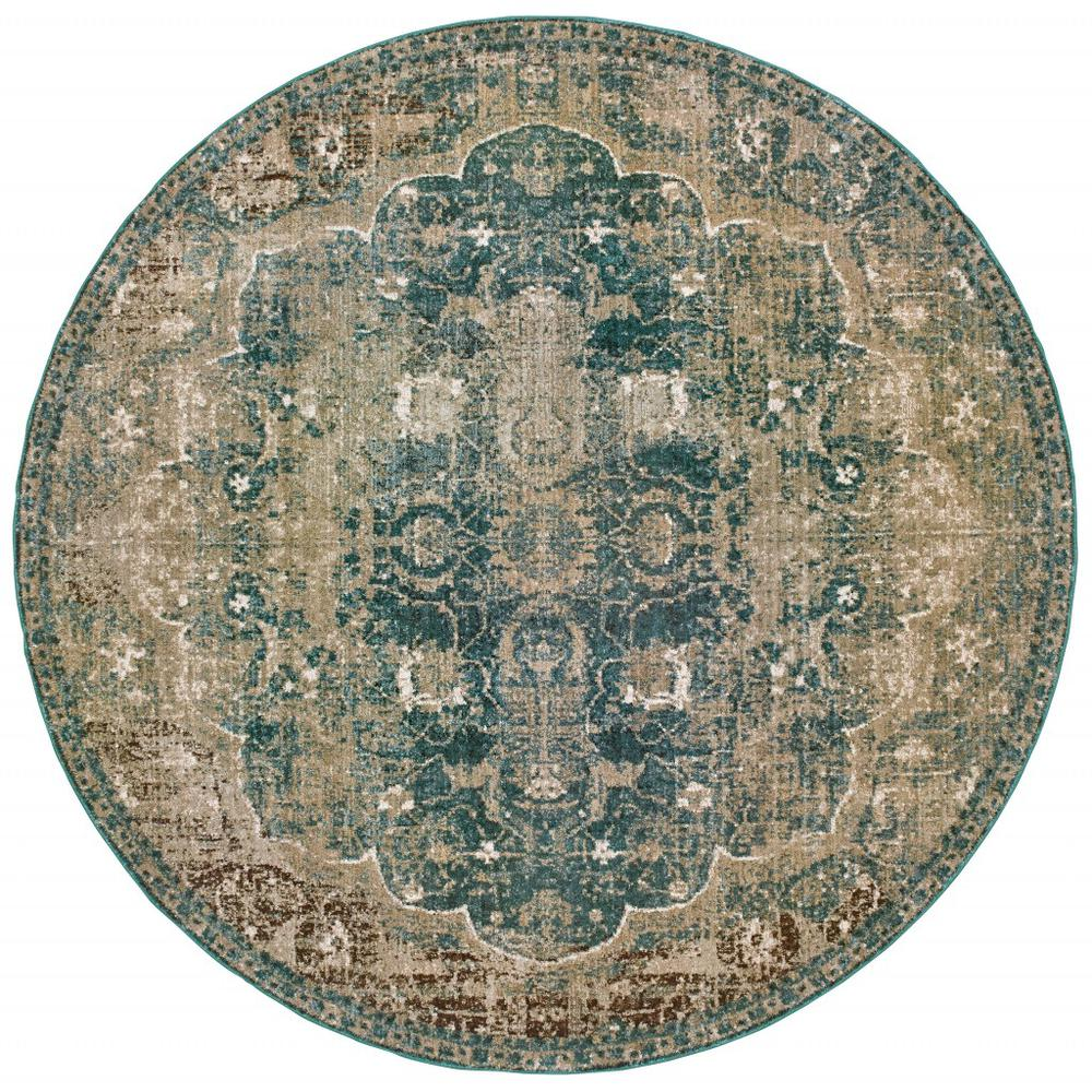 8' Round Sand and Blue Distressed Indoor Area Rug - 388193. Picture 1