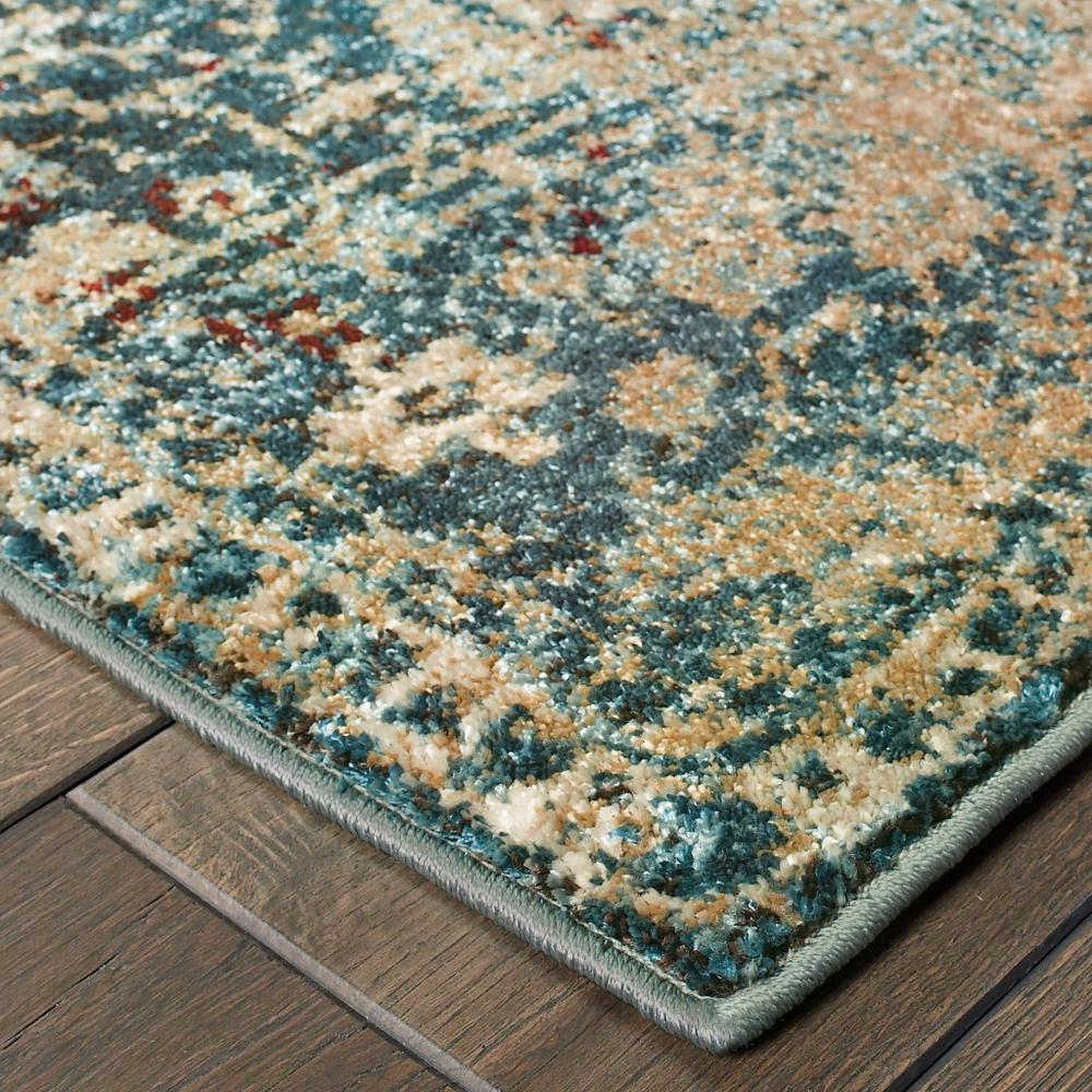 8' Round Sand and Blue Distressed Indoor Area Rug - 388193. Picture 2