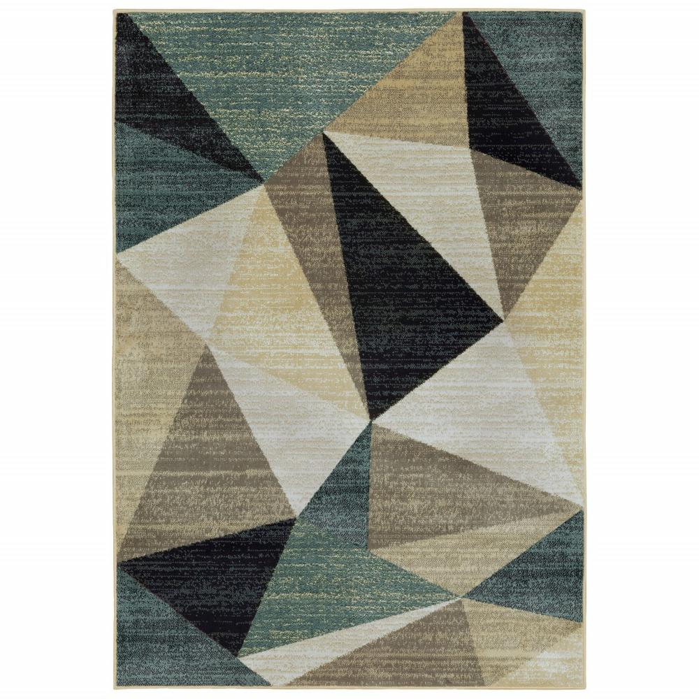 5' x 7'Gray and Teal Geometrics Indoor Area Rug - 388197. Picture 1