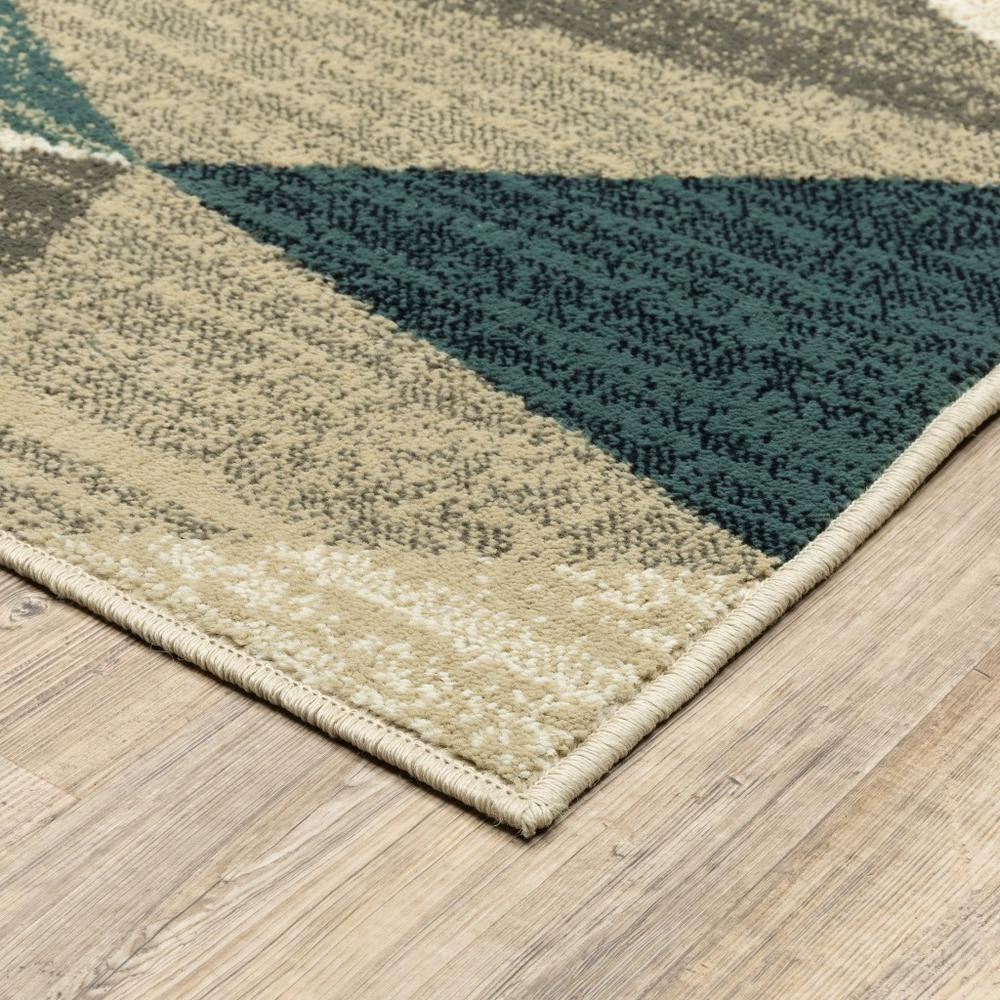 5' x 7'Gray and Teal Geometrics Indoor Area Rug - 388197. Picture 2