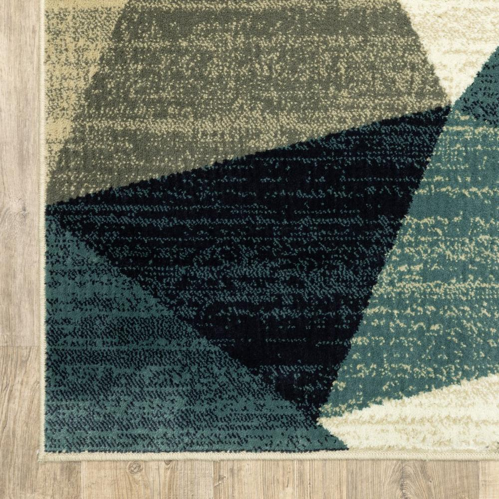 5' x 7'Gray and Teal Geometrics Indoor Area Rug - 388197. Picture 3
