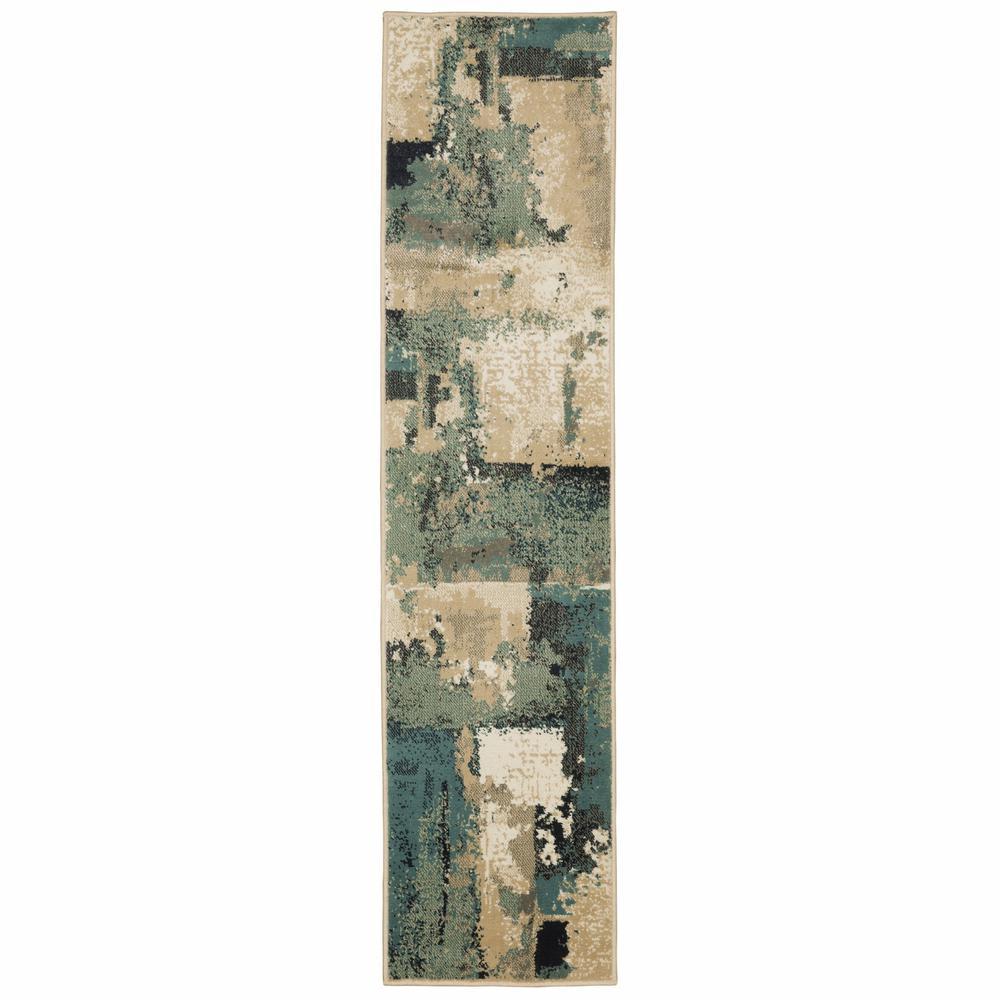 2' x 8' Beige and Blue Block Indoor Runner Rug - 388207. Picture 1