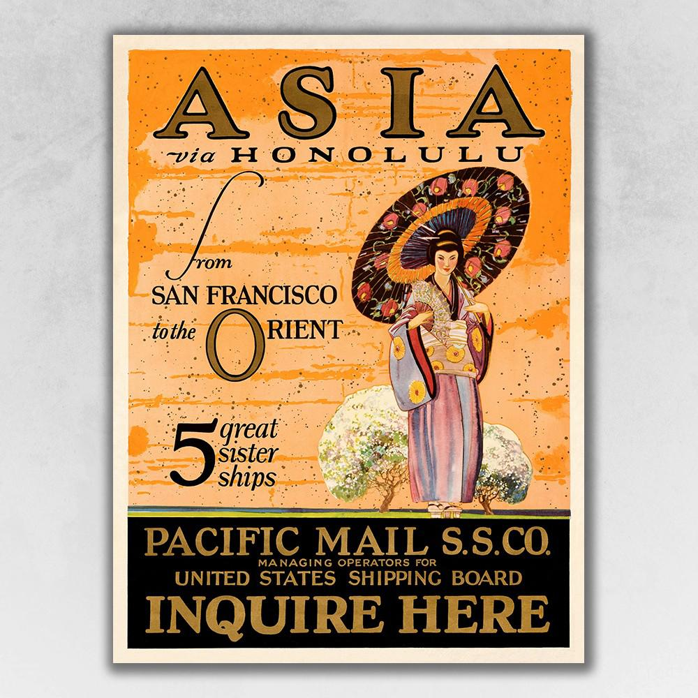 "28"" x 20"" Asia via Honolulu Vintage Travel Wall Art - 388270. Picture 1"