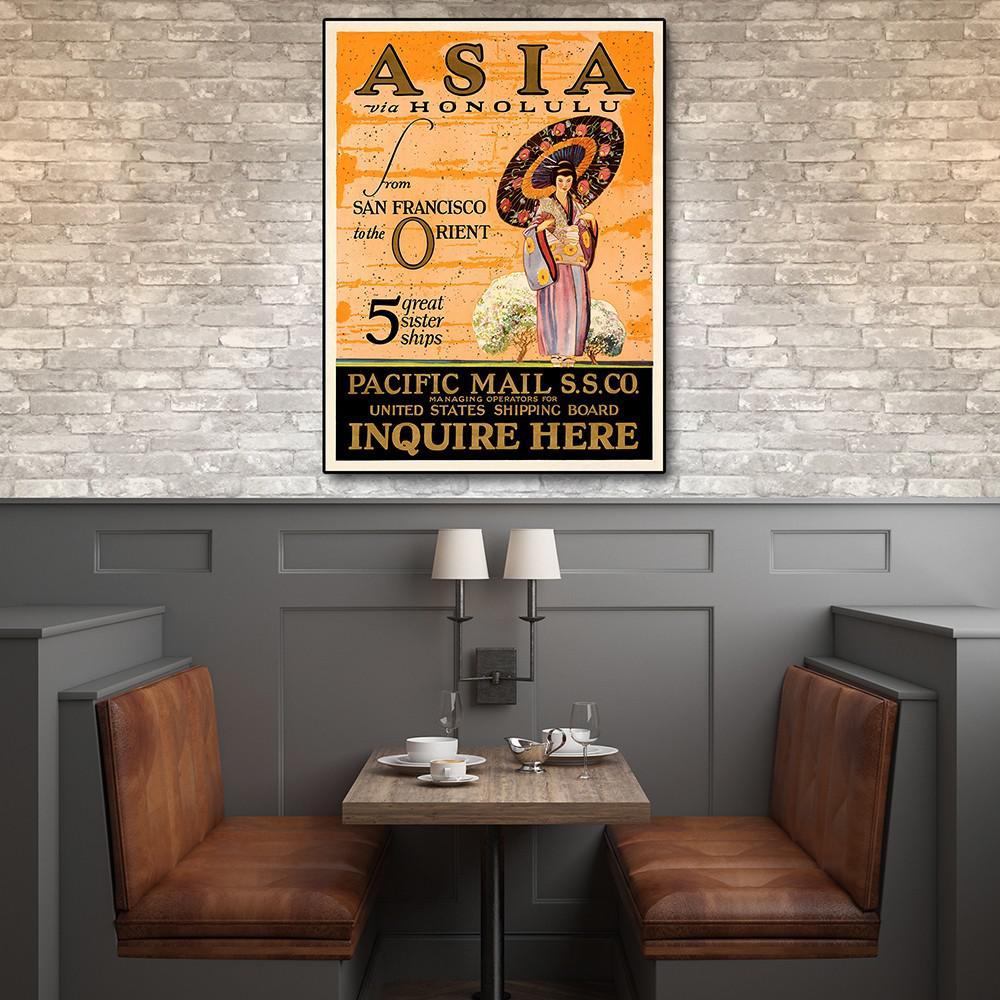 "14"" x 11"" Asia via Honolulu Vintage Travel Wall Art - 388272. Picture 3"