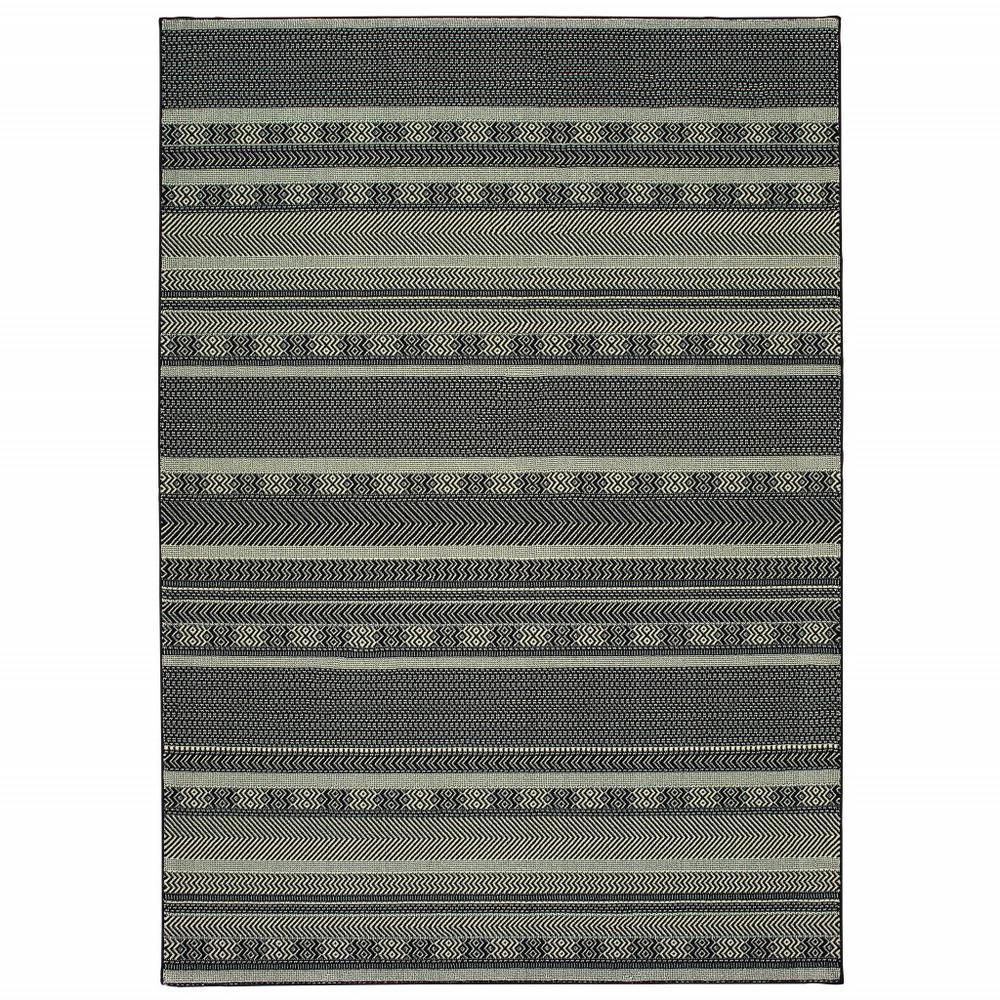 7' x 10' Black Ivory Machine Woven Geometric Indoor Area Rug - 388292. Picture 1