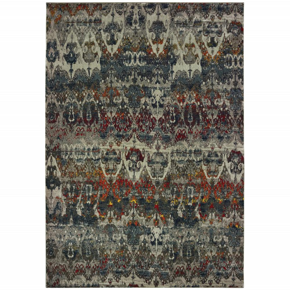5' x 8' Distressed Grey Blue Machine Woven Indoor Area Rug - 388309. Picture 1