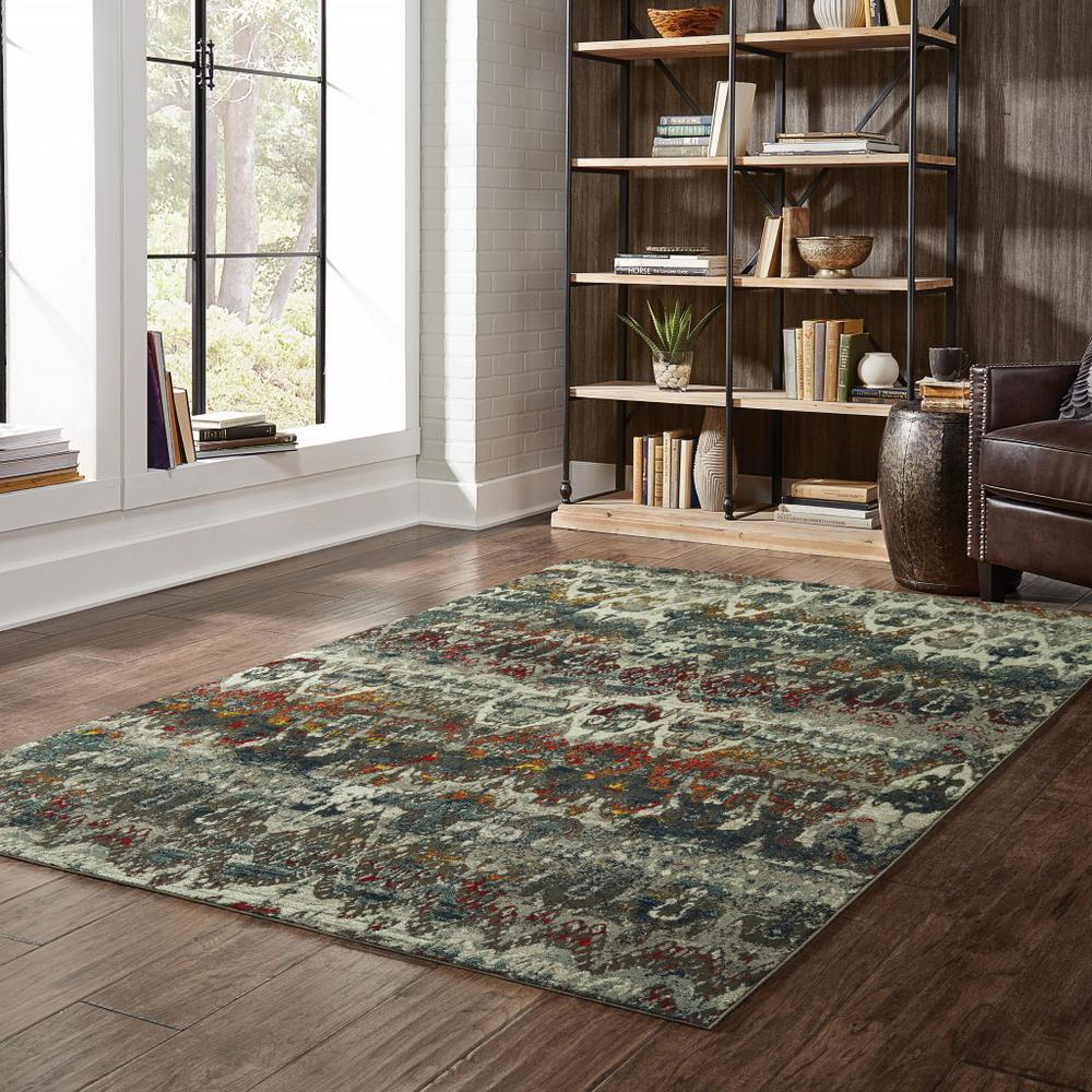 5' x 8' Distressed Grey Blue Machine Woven Indoor Area Rug - 388309. Picture 3