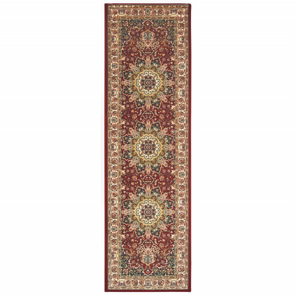 8' Red Ivory Machine Woven Oriental Indoor Runner Rug - 388311. Picture 1