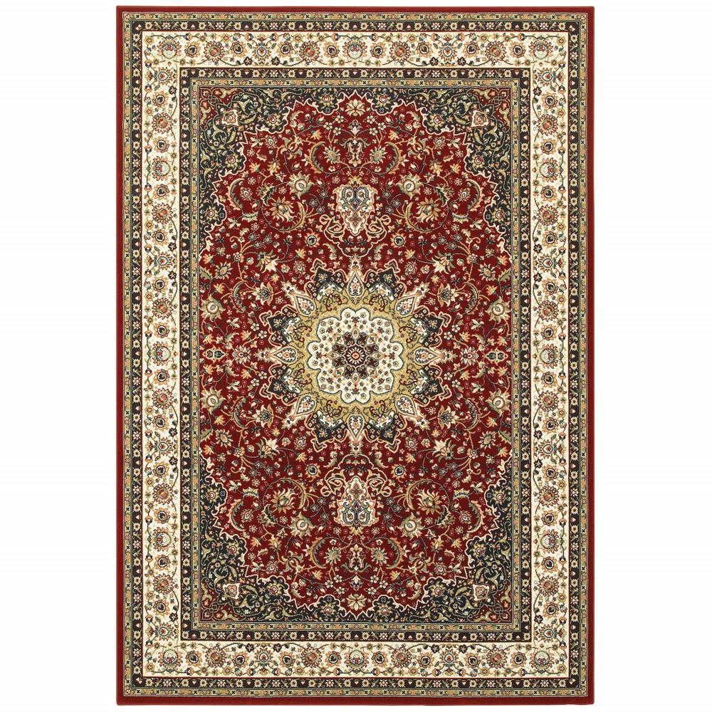 7' x 10' Red Ivory Machine Woven Oriental Indoor Area Rug - 388315. Picture 1