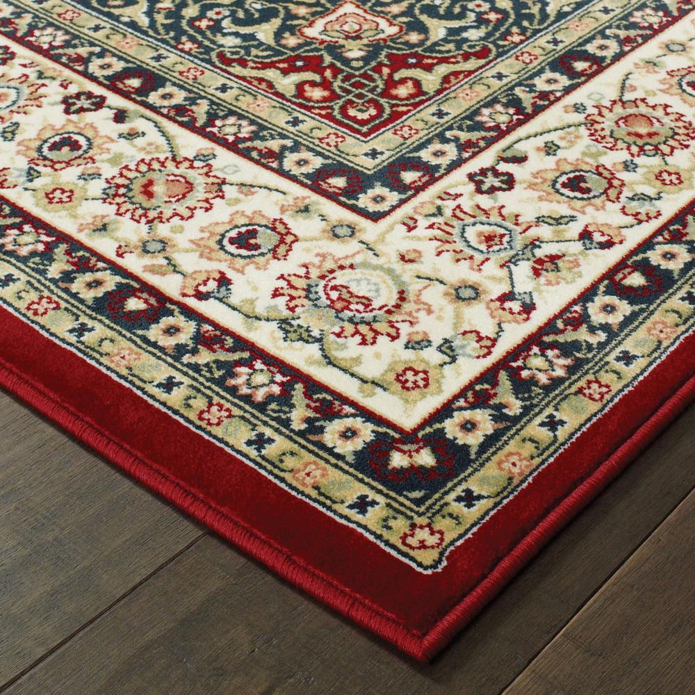 7' x 10' Red Ivory Machine Woven Oriental Indoor Area Rug - 388315. Picture 2