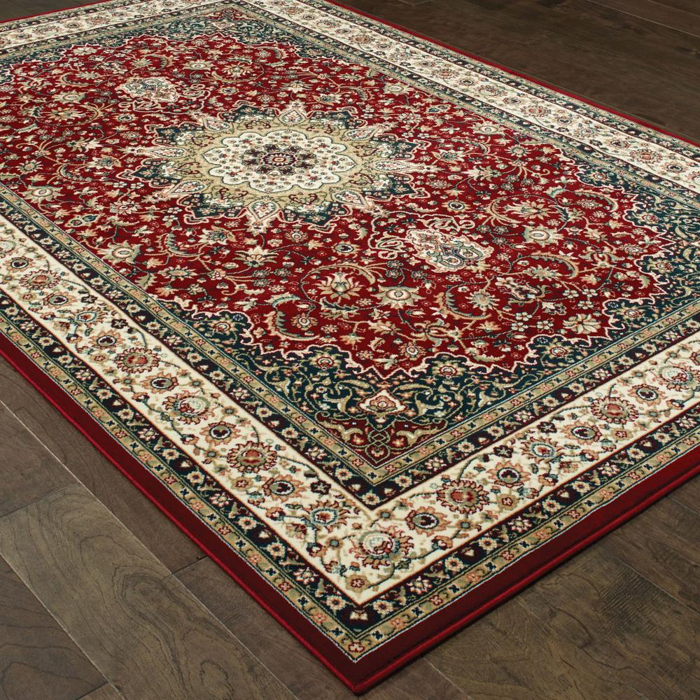 7' x 10' Red Ivory Machine Woven Oriental Indoor Area Rug - 388315. Picture 3