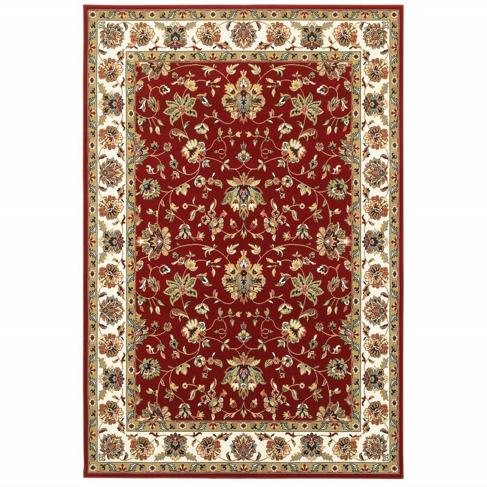 3' x 6' Red Ivory Machine Woven Floral Oriental Indoor Area Rug - 388324. Picture 1