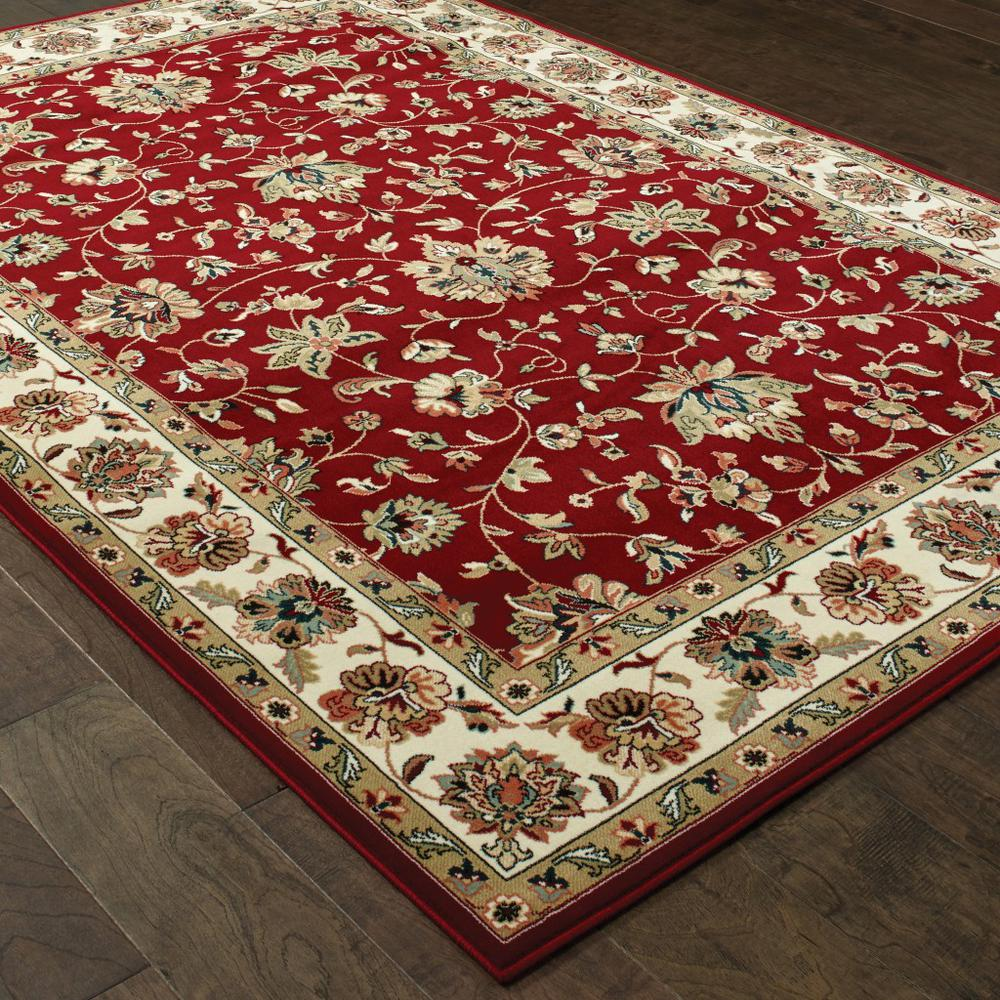 3' x 6' Red Ivory Machine Woven Floral Oriental Indoor Area Rug - 388324. Picture 3