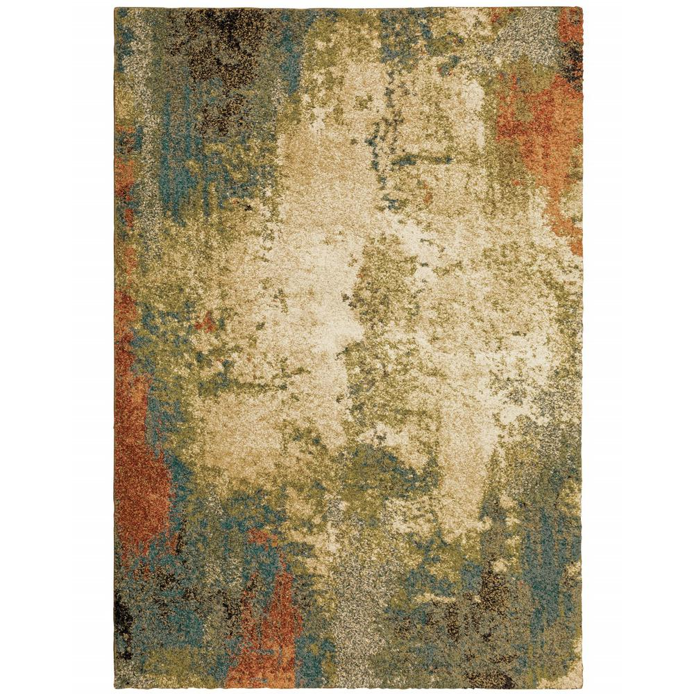 7' x 10' Beige Blue Machine Woven Abstract Indoor Area Rug - 388339. Picture 1