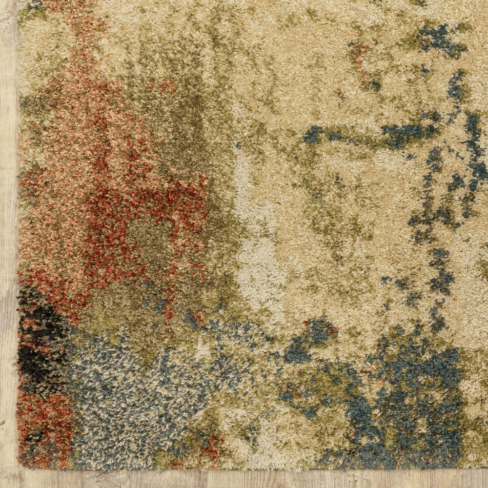 7' x 10' Beige Blue Machine Woven Abstract Indoor Area Rug - 388339. Picture 2