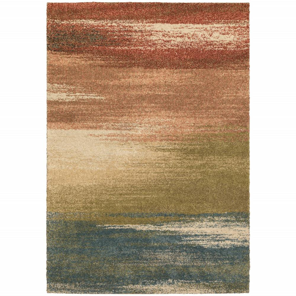 5' x 8' Pink Machine Woven Abstract Colors Indoor Area Rug - 388343. Picture 1