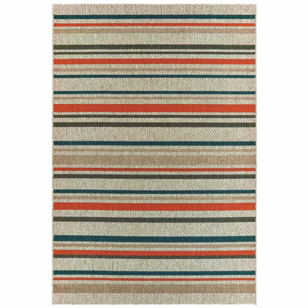 3' x 5' Grey Blue Machine Woven Geometric Indoor or Outdoor Area Rug - 388354. Picture 1