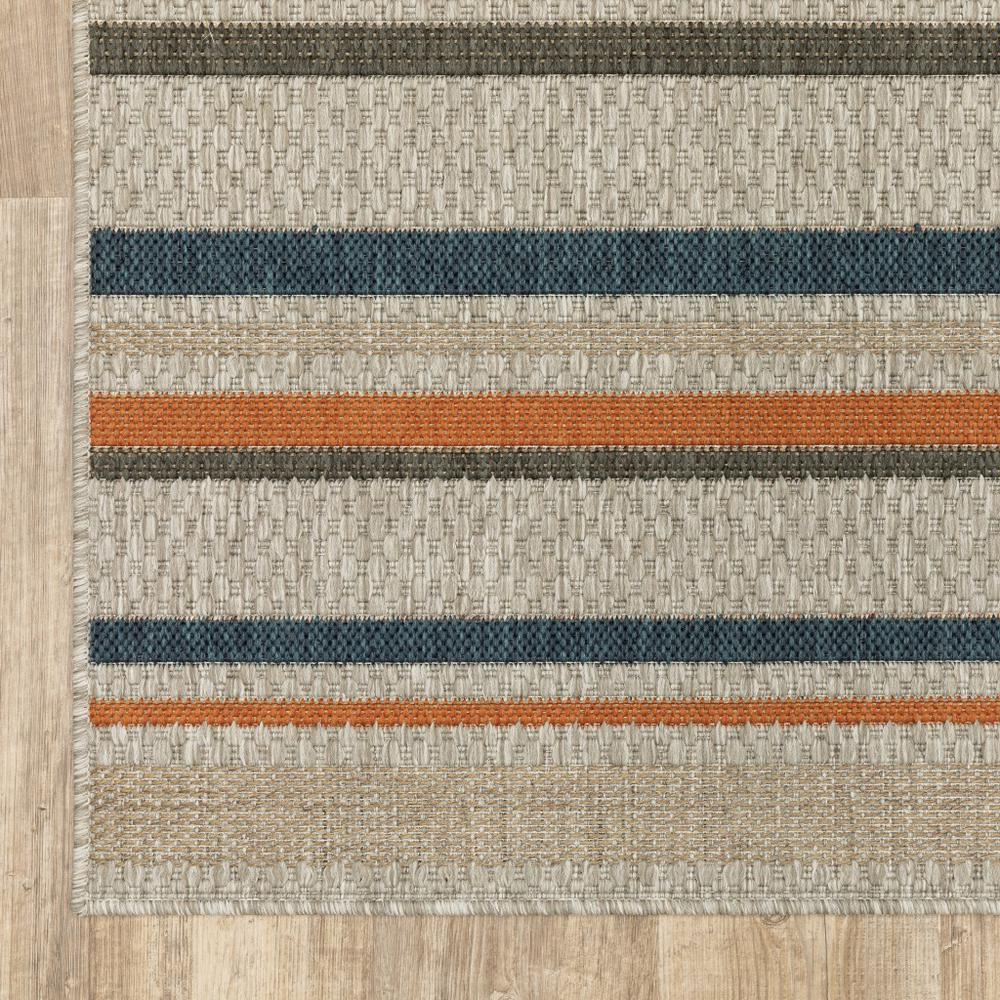 9' x 12' Grey Blue Machine Woven Geometric Indoor or Outdoor Area Rug - 388358. Picture 2