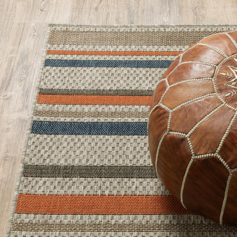 9' x 12' Grey Blue Machine Woven Geometric Indoor or Outdoor Area Rug - 388358. Picture 3