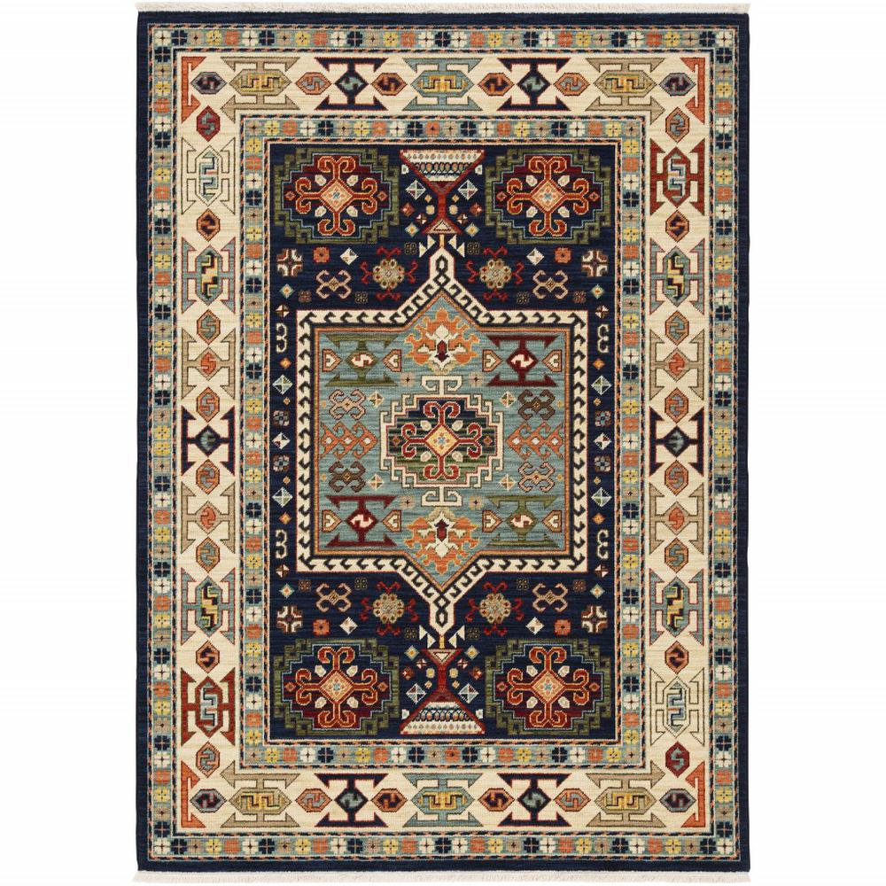7' x 10' Blue Ivory Machine Woven Medallion Indoor Area Rug - 388371. Picture 1