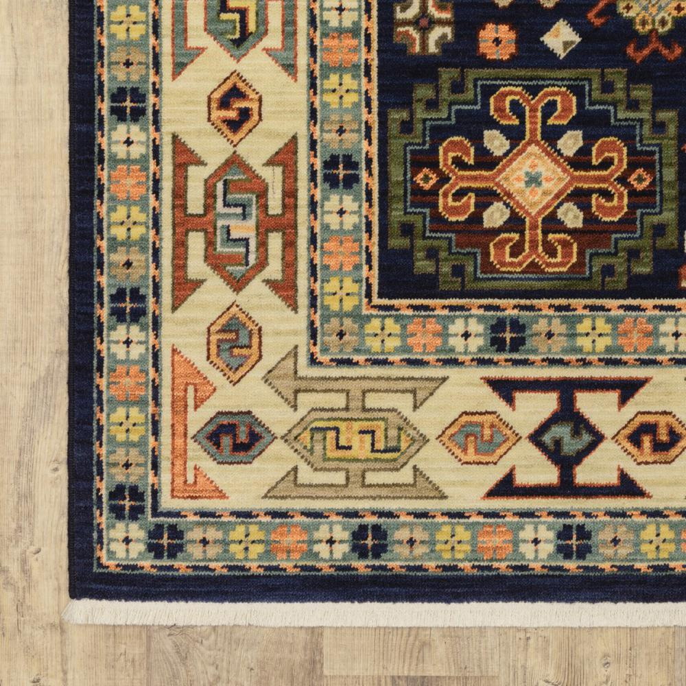 7' x 10' Blue Ivory Machine Woven Medallion Indoor Area Rug - 388371. Picture 2