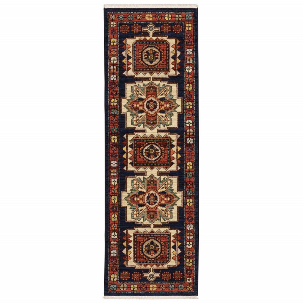 6' Blue Red Machine Woven Medallions Indoor Runner Rug - 388374. Picture 1